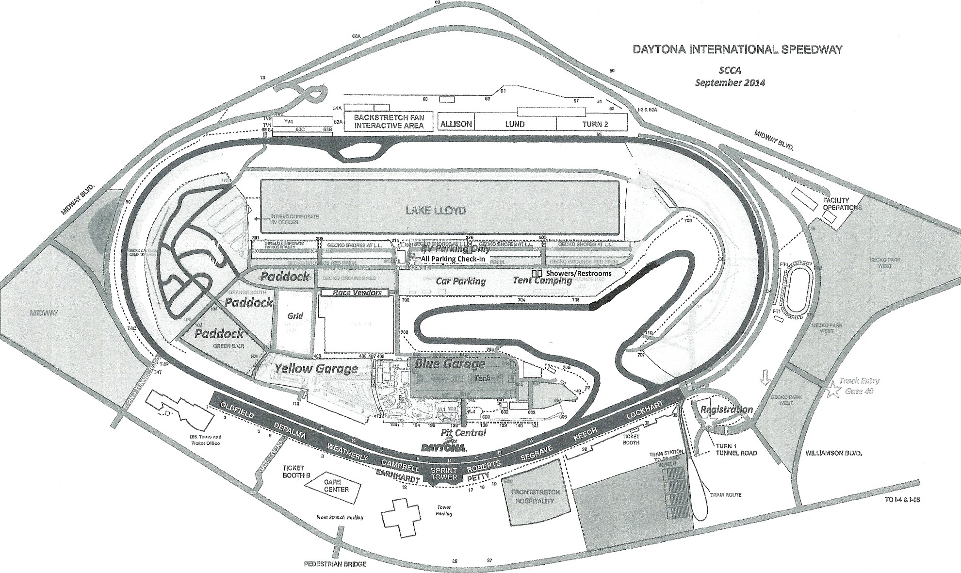 Daytona International Speedway - Paddock Parking Map - Gray Scale Version - Sept 2014
